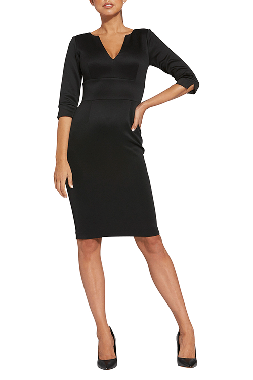 v neck black whole dress wear by woman