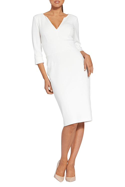 v neck white whole dress wear by woman
